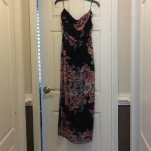 Bohemian black strapless dress